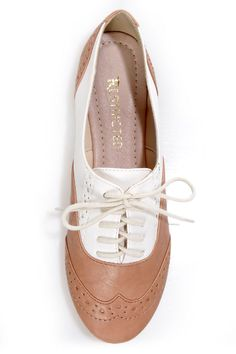 Restricted Sweet Pea Natural and White Saddle Shoe Flats - $49.00