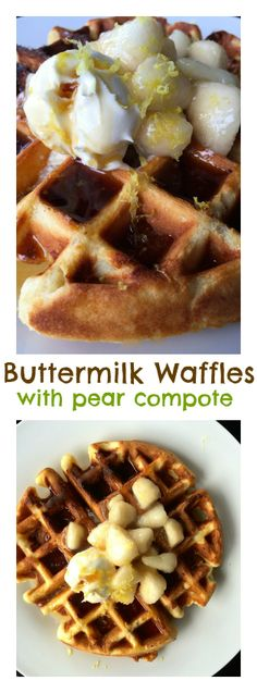 Buttermilk Waffles with Pear Compote #Easter #Waffles #Brunch
