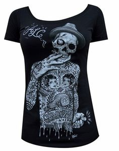 $24.95 Womens Geezer by Jarad Bryant ALC Tattooed Skeleton Tattoo Scoop Neck T-Shirt #Clothes