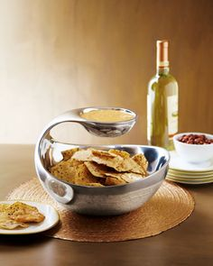 Scoop Chip and Dip Server - Neiman Marcus  $250 Chip And Dip Bowl, Party Dishes, Kitchen Gadgets, Cooking Gadgets, Kitchen Stuff, Kitchen Tools, Kitchen Appliances, Kitchen Accessories, Kitchenware