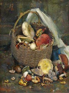 Karl Truppe (German, 1887–1959) Stillleben mit Pilzen , 1941  oil on cardboard  60 x 45 cm. (23.6 x 17.7 in.)