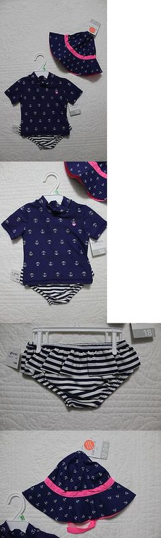 Swimwear 152398: New Carters Baby Girls 2 Piece Rash Guard Swimsuit With Matching Hat Navy Pink -> BUY IT NOW ONLY: $39.99 on eBay!
