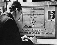 """The referendum on 10 April 1938 on the Anschluss in Austria - Propaganda even in the voting booth with a poster instructing voters how to vote """"Ja"""", i. Notice how small the circle is for a ''Nein'' or no vote! Ap World History, Modern History, Austria, Voting Booth, Appeasement, Global Conflict, The Third Reich, Total War, World War Two"""