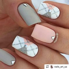 Gray Pink White Nails #nailart #nail
