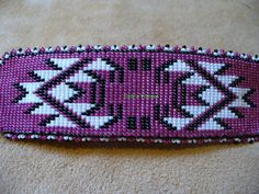 Native American inspired loom stitched large barrette