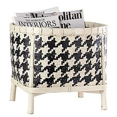 www.theFoundary.com  Great for magazines or towels, it's hand woven of natural wicker with bamboo feet and hand painted in an all-over black & cream houndstooth pattern.