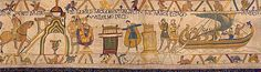 The Oath scene 1 - Bayeux Tapestry  William and Harold return to Normandy and reach the town of Bayeux. In the climax of the story so far Harold swears a solemn oath on holy relics. Was Harold promising to support William? Harold is at last set free, and sails back to England.