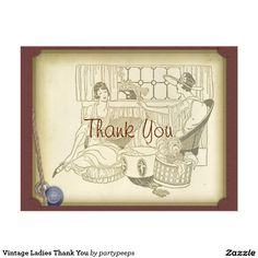 Vintage Ladies Thank You Postcard
