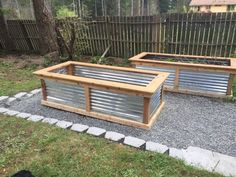 "Planter Beds - Beds' internal dimensions are 8'  3.5'W 26""H. They also have a 7.5"" shelf across the top. All lumber is cedar; no treated wood. Fasteners used on the externals are outdoor deck screws (polymer coated and zinc plated) cedar colored to blend in. Bottom of the bed has chicken wire.  All corner pieces are mitered and corrugated steel is used for the walls."
