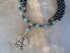Jade & Ebony Choker with finely detailed brass Buddha amulet