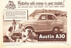 Australian Vintage, Australian Cars, Austin Cars, Austin Seven, Family Budget, Vintage Posters, Vintage Images, Car Advertising, A30
