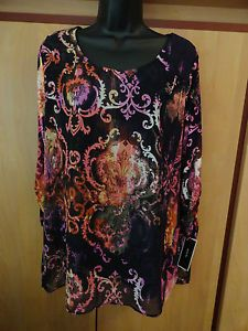 NEW ALFANI Large Tunic Scroll Print Scoop Neckline 3/4 Ruched Sleeve