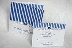 cobalt blue wedding invitation