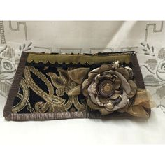 Black, Putty Old Gold Evening Bag- Flower and Vintage Button ($29) ❤ liked on Polyvore featuring bags, handbags, clutches, integritytt, accessories, purses, man bag, gold evening purse, special occasion clutches and evening clutches