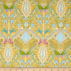 Butterfly Garden Butterfly Medallion Yellow from @fabricdotcom  Designed by Dena Designs for Free Spirit, this fabric is perfect for quilting, apparel and home decor accents. Colors include yellow, aqua blue, green, grey and pink.