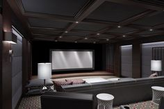 Home theater with dark walls, ceiling etc. ideally 150 inch screen. Already know what projector. Pretty specific in what I will want for this room. Absolute necessity in design of house though. Would probably be best in basement, with no windows for full black out of light. This design is nice.