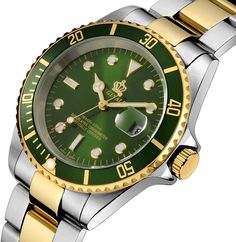 Amazon.com: Fanmis Green Dial Ceramic Bezel Sapphire Glass Luminous Quartz Silver Gold Two Tone Stainless Steel Watch: Watches