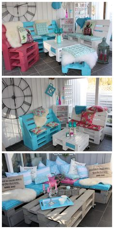 Garden furnitures made out of Pallets  #PalletChair, #PalletLounge, #PalletSofa, #PalletTerrace, #Patio, #RecycledPallet