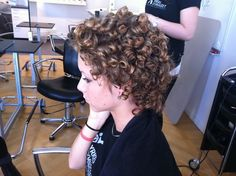 She looks nervous to go outside with her permed curls. Short Curly Haircuts, Short Curly Styles, Permed Hairstyles, Curly Hair Styles, Cool Hairstyles, Ladies Hairstyles, Curly Short, Medium Curly, Tight Curly Hair