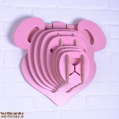 DIY wooden crafts of Light pink Cute Teddy Bear head wall hanging for children's room decoration,Europe style creative gifts