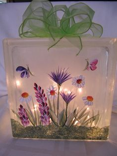 painting Glass Decor - Decorate Home With Glass Paintings Painted Glass Blocks, Decorative Glass Blocks, Lighted Glass Blocks, Hand Painted, Glass Block Crafts, Block Painting, Tole Painting, Glass Brick, Painted Wine Glasses