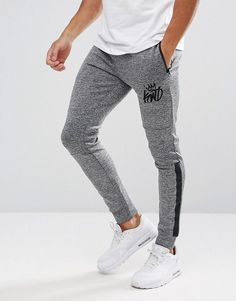 Kings Will Dream Skinny Joggers In Gray Marl With Stripe - Gray Skinny  Joggers fe1e37aac9f