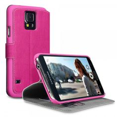 Hot Pink PU Leather Wallet Case with Stand and  Card Holders for Samsung Galaxy S5