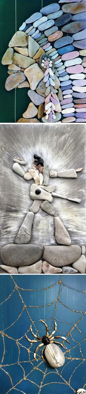 Каждый человек хоть раз в жизни брал в руки камешки причудливой формы, кто-то даже выкладывал из них простенькие фигурки, но не более того. А вот итальянцу Стефано Фурлани (Stefano Furlani) пришла гениальная идея приклеивать сложенные фигурки к деревянной основе. Ведь все гениальное просто!