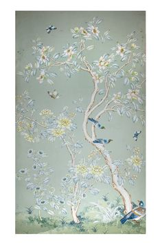 Gracie Wallpaper Panel - framed. Easier alternative to papering whole room or wall.
