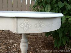 drum table with raised stencils via #hookedondecorating.com
