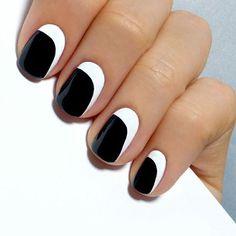 53 black and white nail art