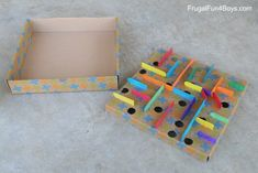 How to Make a Cardboard Box Marble Labyrinth Game - Frugal Fun For Boys and Girls Cardboard Box Crafts, Cardboard Playhouse, Cardboard Castle, Cardboard Toys, Cardboard Furniture, Labyrinth Game, Marble Games, Dora, Crafts For Kids