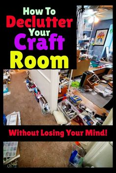 """Crafting Room Clutter Ideas - Craft Room Clutter - what to do with craft supplies when you have too much STUFF in your craft room! Have a cluttered craft room? Feeling overwhelmed with the thought of decluttering and organizing your craft room? These simple craft room organization ideas WORK - the answer to: """"how to organize my craft room"""" is right here! Useful messy craft room organization ideas and storage hacks to declutter your craft room on a budget. Craft Room Organisation, Home Organization Hacks, Craft Room Storage, Diy Storage, Storage Hacks, Craft Rooms, Organizing Ideas, Ribbon Storage, Fun Crafts For Kids"""
