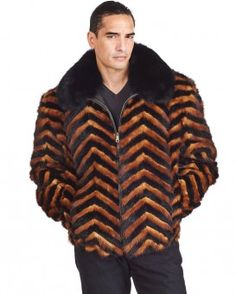 Marcus Whiskey and Black V-cut Mink Fur Bomber Jacket for Men