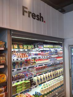 Supermarket Design, Retail Store Design, Convience Store, Glass Door Refrigerator, Grocery Items, Grocery Store, Store Plan, Pharmacy Design, Store Layout