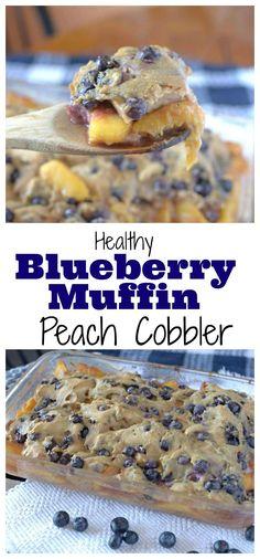 #healthy Blueberry-Muffin Peach Cobbler is the best dessert ever! #vegan #glutenfree