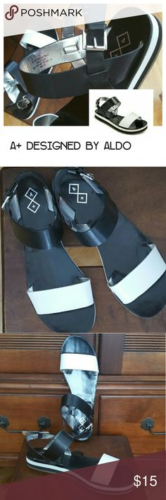 📌 Final Sale A+ designed by Aldo Sandals NWOT A+ designed by Aldo Sandals in black and white adjustable ankle buckle metallic silver inner liner comfortable and stylish NWOT Aldo Shoes Sandals