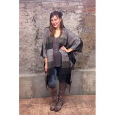 Gifts :: For Her :: Striped Kimono: Brown, Taupe and Army Striped Fleece Ultra Soft Poncho