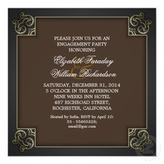 chic vintage design engagement party invitations with clean brown design