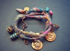 Nubby Yarn Wrap Bracelet or Necklace with by LoreleiEurtoJewelry