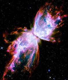 Butterfly Nebula. Gas released by a dying star races across space at more than 600,000 miles an hour, forming the delicate shape of a celestial butterfly. This nebula is also known as NGC 6302 or the Bug Nebula.