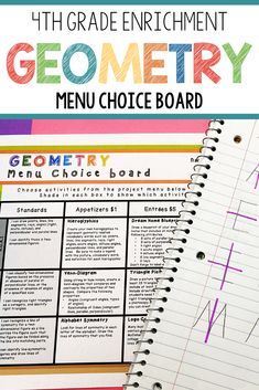 This enrichment menu project is an amazing differentiation tool that not only empowers students through choice but also meets their individual needs.4th grade students can demonstrate their understanding of common core math standards that deal with geometry such as 4.g.a.1, 4.g.a.2 and 4.g.a.3. #iteach4th #geometry #4thgrademath #mathclassroom