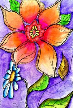 Whimsical Art | ... Whimsical Flowers In Orange And Purple Fine Art Prints and Posters for