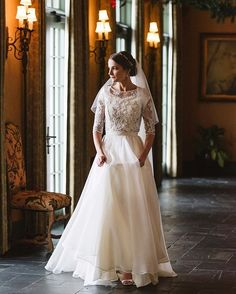 modest wedding dress with half sleeves and a flowing skirt from alta moda (modest bridal gown) Yes To The Dress, Dress Up, Leanne Marshall Wedding Dresses, Modest Wedding Dresses With Sleeves, Designer Wedding Gowns, Lds, Dress Making, Bridal Gowns, White Dress