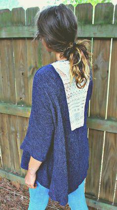 Crochet Trim Back Knit Open Cardigan