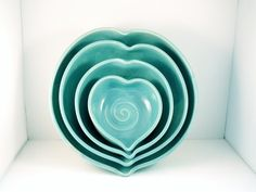 Romantic Blue Ceramic Nesting Heart Bowls IN STOCK -  Minimalist Blue heart serving bowls-  couples wedding engagement or anniversary. $100,00, via Etsy.