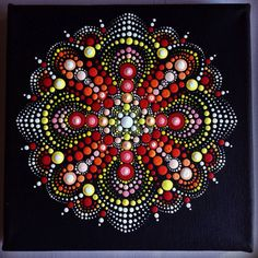 Original Dotart Red Mandala Painting on Black by CreateAndCherish