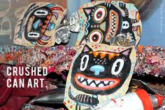 Crushed Can Art: Painting 3 Wild Cats School Art Projects, Art School, Painting Lessons, Art Lessons, Upcycle, Reuse, Small Art, Recycled Art, Paint Cans