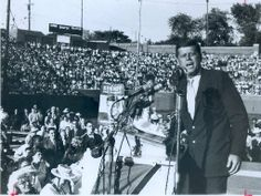 1960. John F. Kennedy gives a presidential campaign speech at Atwood Stadium in Flint, Michigan