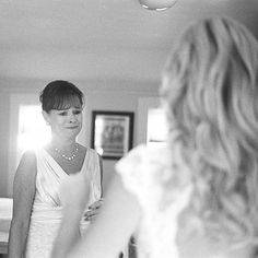Brides definitely need a first look picture with their mother! #EvalinesBridal #MothersInMay  Brides.com: 11 Emotional Mother-of-the-Bride Moments. Photo by Vic Pellicier